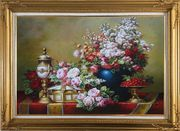 Red, Pink Roses and Other Colorful Flowers, Cherry and Exquisite Light Pot Oil Painting Still Life Bouquet Classic Gold Wood Frame with Deco Corners 31 x 43 inches