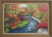 A Creek Passing Through Beautiful Autumn Forest Oil Painting Landscape River Naturalism Exquisite Gold Wood Frame 30 x 42 inches
