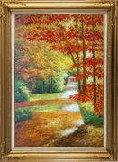 A Peaceful Path Under Golden Autumn Trees Oil Painting Landscape Naturalism Gold Wood Frame with Deco Corners 43 x 31 inches
