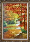 A Peaceful Path Under Golden Autumn Trees Oil Painting Landscape Naturalism Ornate Antique Dark Gold Wood Frame 42 x 30 inches