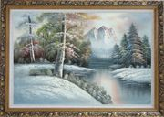 Snow-Covered River and Mountain Scenery Oil Painting Landscape Winter Naturalism Ornate Antique Dark Gold Wood Frame 30 x 42 inches