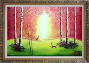 Deer Play in Red and Yellow Site in Forest Oil Painting Animal Naturalism Ornate Antique Dark Gold Wood Frame 30 x 42 inches