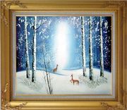Deer in Winter Snow Forest in Moonlight Oil Painting Animal Impressionism Gold Wood Frame with Deco Corners 27 x 31 inches
