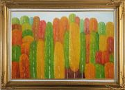 Yellow, Red and Green Aspen Forest Impression Oil Painting Landscape Tree Modern Gold Wood Frame with Deco Corners 31 x 43 inches