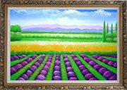 Beautiful Countryside of Provence France Oil Painting Landscape Field Italy Decorative Ornate Antique Dark Gold Wood Frame 30 x 42 inches