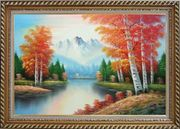 Autumn Colors Along A Small River Oil Painting Landscape Tree Naturalism Exquisite Gold Wood Frame 30 x 42 inches