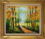 A Peaceful Path in Colorful Fall Forest Oil Painting Landscape Tree Impressionism Gold Wood Frame with Deco Corners 27 x 31 inches