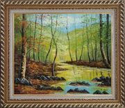 Trees on a Swamp under Blue Sky Oil Painting Landscape Naturalism Exquisite Gold Wood Frame 26 x 30 inches