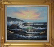 Sea Waves, Sea Birds, Rocks On Sunset Oil Painting Seascape Naturalism Gold Wood Frame with Deco Corners 27 x 31 inches
