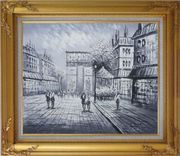 Black White Paris Arc de Triomphe Oil Painting Cityscape Impressionism Gold Wood Frame with Deco Corners 27 x 31 inches