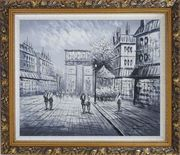 Black White Paris Arc de Triomphe Oil Painting Cityscape Impressionism Ornate Antique Dark Gold Wood Frame 26 x 30 inches