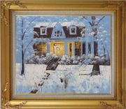 Sweet Home in Winter Snow Christmas Oil Painting Village Naturalism Gold Wood Frame with Deco Corners 27 x 31 inches