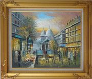 People Walk on Paris Street at Evening in Nineteenth Century Oil Painting Cityscape France Impressionism Gold Wood Frame with Deco Corners 27 x 31 inches