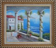 Mediterranean Arch Retreat Oil Painting Naturalism Exquisite Gold Wood Frame 26 x 30 inches