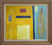 Rectangles in Color Field Oil Painting Nonobjective Modern Exquisite Gold Wood Frame 26 x 30 inches