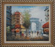 Twilight at Arc de Triomphe with Walking People Oil Painting Cityscape France Impressionism Exquisite Gold Wood Frame 26 x 30 inches