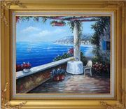 Enchanting Retreat, Lovely Mediterranean Patio Oil Painting Naturalism Gold Wood Frame with Deco Corners 27 x 31 inches