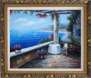 Enchanting Retreat, Lovely Mediterranean Patio Oil Painting Naturalism Ornate Antique Dark Gold Wood Frame 26 x 30 inches