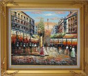 Paris Street Eiffel Tower at Dusk Oil Painting Cityscape France Impressionism Gold Wood Frame with Deco Corners 27 x 31 inches