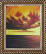 Setting Sun Kindle the Sky Oil Painting Landscape Naturalism Exquisite Gold Wood Frame 30 x 26 inches