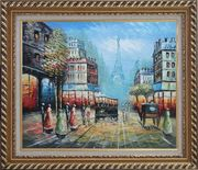 Paris Street and Relaxed Pedestrian Oil Painting Cityscape France Impressionism Exquisite Gold Wood Frame 26 x 30 inches