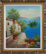 Retreat at Mediterranean Coast Oil Painting Naturalism Ornate Antique Dark Gold Wood Frame 30 x 26 inches