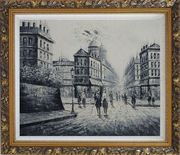 The City of Love Oil Painting Black White Cityscape Impressionism Ornate Antique Dark Gold Wood Frame 26 x 30 inches