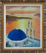 Sunset of Serenity Bay in Santorini Island Oil Painting Mediterranean Religion Naturalism Ornate Antique Dark Gold Wood Frame 30 x 26 inches
