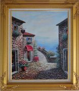 Mediterranean Seashore Village in Serenity Bay Oil Painting Naturalism Gold Wood Frame with Deco Corners 31 x 27 inches