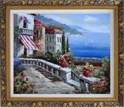 Mediterranean Vistas Oil Painting Naturalism Ornate Antique Dark Gold Wood Frame 26 x 30 inches