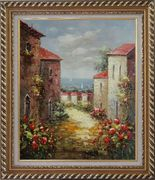 Look Into the Mediterranean Sea Oil Painting Impressionism Exquisite Gold Wood Frame 30 x 26 inches