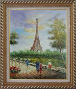 Romantic Walk Along Bank of the Seine Near Eiffel Tower Oil Painting Cityscape France Impressionism Exquisite Gold Wood Frame 30 x 26 inches