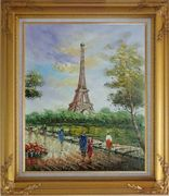 Romantic Walk Along Bank of the Seine Near Eiffel Tower Oil Painting Cityscape France Impressionism Gold Wood Frame with Deco Corners 31 x 27 inches