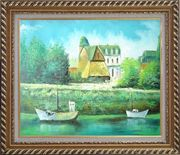 Serene Riverside Boats and Houses Oil Painting Impressionism Exquisite Gold Wood Frame 26 x 30 inches