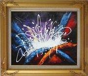 Modern Splendid Fireworks Oil Painting Nonobjective Decorative Gold Wood Frame with Deco Corners 27 x 31 inches