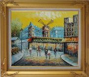 Moulin Rouge At Dusk Oil Painting Cityscape France Impressionism Gold Wood Frame with Deco Corners 27 x 31 inches