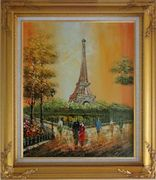 My Wonderful Time At Paris Oil Painting Cityscape France Impressionism Gold Wood Frame with Deco Corners 31 x 27 inches