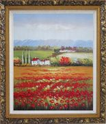 Tuscany Poppies Field in Italian Oil Painting Landscape Italy Impressionism Ornate Antique Dark Gold Wood Frame 30 x 26 inches