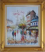 A Moment In Paris with Eiffel Tower Oil Painting Cityscape France Impressionism Gold Wood Frame with Deco Corners 31 x 27 inches