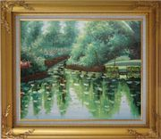 Lake, Tree and Golf Course Oil Painting Landscape River Impressionism Gold Wood Frame with Deco Corners 27 x 31 inches