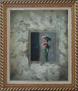 Painting of Pink Flowers Oil Carnation Modern Exquisite Gold Wood Frame 30 x 26 inches