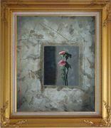 Painting of Pink Flowers Oil Carnation Modern Gold Wood Frame with Deco Corners 31 x 27 inches