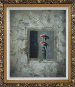Painting of Pink Flowers Oil Carnation Modern Ornate Antique Dark Gold Wood Frame 30 x 26 inches