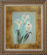 White Lilies Oil Painting Flower Still Life Lily Modern Exquisite Gold Wood Frame 30 x 26 inches