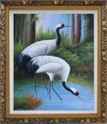 Two Graceful Red Crowned Cranes Play in Water Oil Painting Animal Bird Classic Ornate Antique Dark Gold Wood Frame 30 x 26 inches