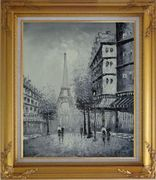 Another Look At Paris, Intoxicated Again Oil Painting Cityscape France Black White Impressionism Gold Wood Frame with Deco Corners 31 x 27 inches