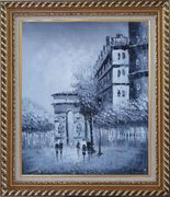 People Walking On Street With View of Arc de Triomphe Oil Painting Cityscape France Black White Impressionism Exquisite Gold Wood Frame 30 x 26 inches
