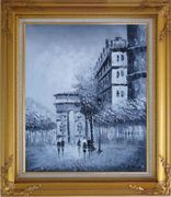 People Walking On Street With View of Arc de Triomphe Oil Painting Cityscape France Black White Impressionism Gold Wood Frame with Deco Corners 31 x 27 inches