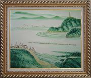Mountain, River and Fishing Boats Oil Painting Landscape Asian Exquisite Gold Wood Frame 26 x 30 inches