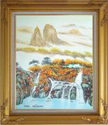 Mountain, Waterfall, Bridge, Hut and Lake Oil Painting Landscape Asian Gold Wood Frame with Deco Corners 31 x 27 inches